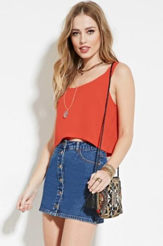 FOREVER 21 New Boxy Top Solid Pink Coral Black Sleeveless Woven Tank Size S,M,L