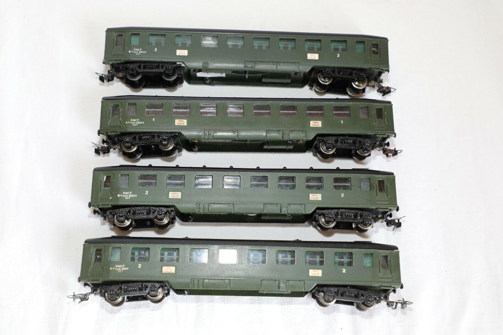 4 Wagons sncf 1ère et 2ème classes Paris-Lille  Hornby Meccano