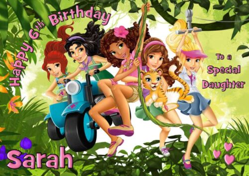 lego friends personalised A5 birthday card daughter sister niece friend name age
