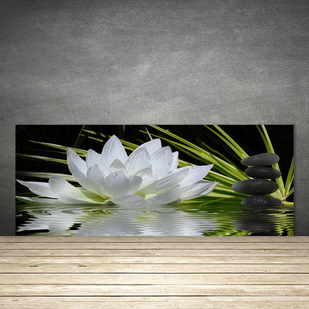 Crédence de cuisine en verre Panneau 125x50 Floral Fleur Eau Pierre