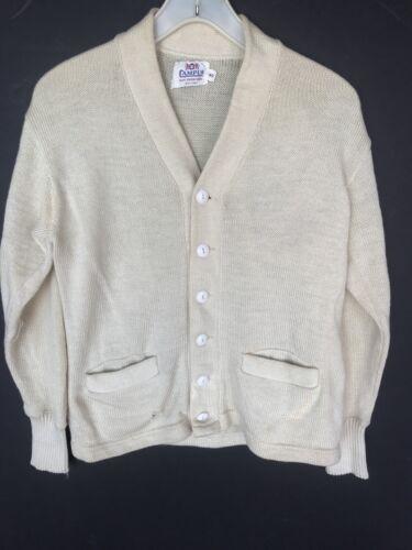 Vtg 50s Wool Campus Letterman Sweater White Rockab