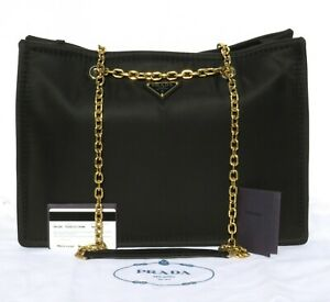 PRADA-Black-Tessuto-Nylon-Chain-Shopper-Tote-1BG268-Leather-Gold-HW-Bag-1790-EC