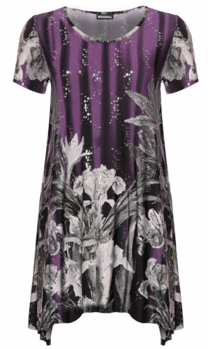 New Ladies Short Sleeve Sequin Floral Print Women Flared Swing Capped Top