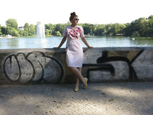 Dress True 80's Dress Dress Woman Vintage Summer Pink '80 anni Rose Lucylla Summer IwZXafqvw