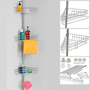 Super Details About Deluxe 3 Tier Adjustable Bathroom Corner Shelves Shower Storage Rack Caddy Large Interior Design Ideas Jittwwsoteloinfo