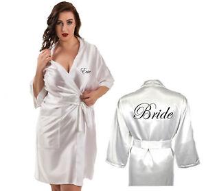 Image is loading Personalised-Ladies-Satin-Robe-Dressing-Gown-Wedding-Bride- 248398c12