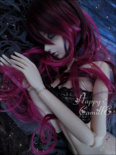BJD Doll 1//4 7-8 Wig Long Curly Wave Hair High Temperature Fiber Girl Red Purple