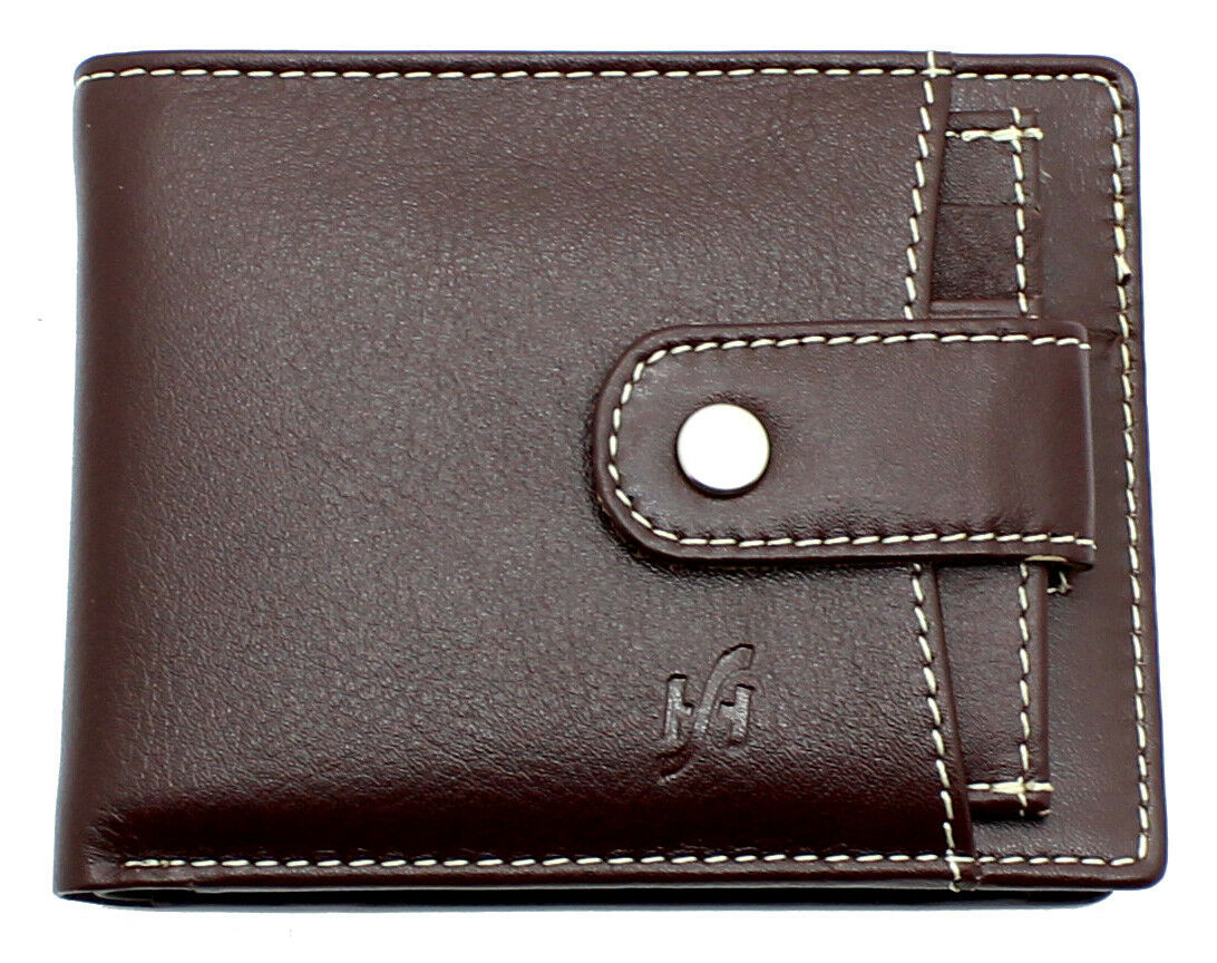Mens RFID Blocking Brown Leather Wallet With Slim Cardholder