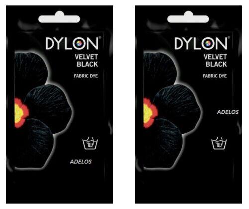 2 x Dylon Tissu Teinture Main Utiliser 50 g Pack Jeans vêtements velours noir