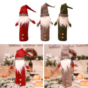 Christmas Gnome Decor.Details About Eg Christmas Gnome Tomte Santa Wine Bottle Cover Champagne Wrap Table Decor New