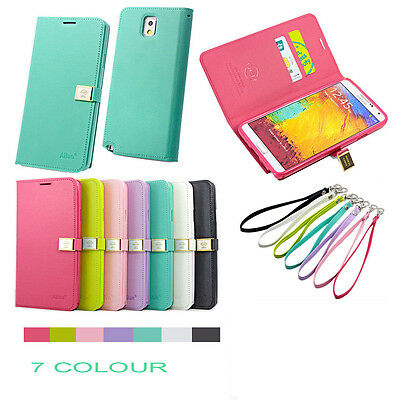 For Various Samsung /iPhone New Elegant Leather Magnet Cover Wallet Case +Strap