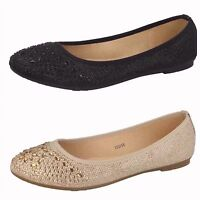 F80291- Ladies Spoton Glitter Ballerina Style Shoes- 2 Colours- Black & Gold