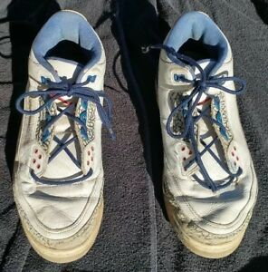 883a1eda2733 VTG 2001 NIKE AIR JORDAN Mens White Blue Mid Basketball Shoes 136064 ...