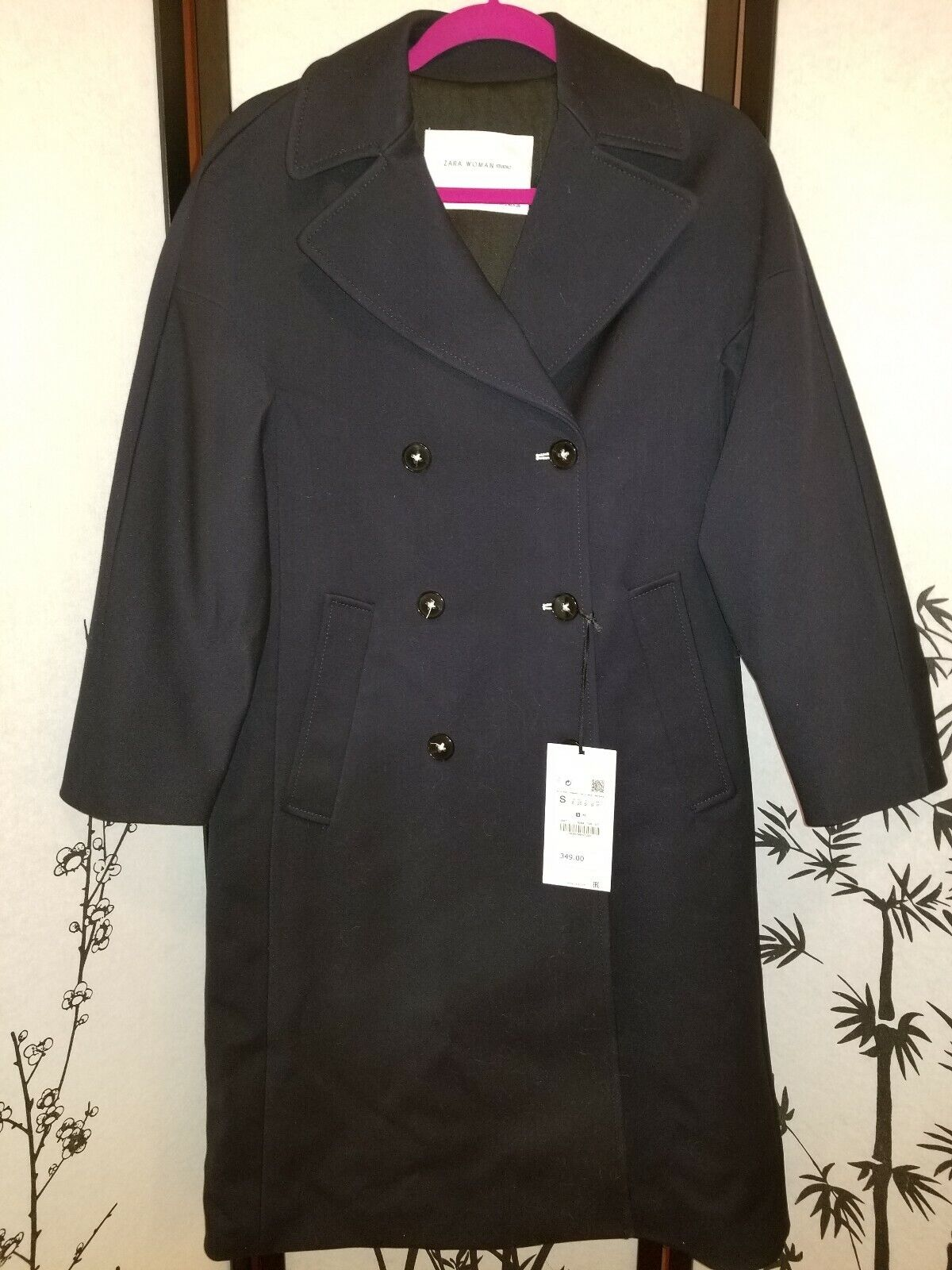 ZARA STUDIO DOUBLE-BREASTED COAT 8084 798 Navy bluee Size S