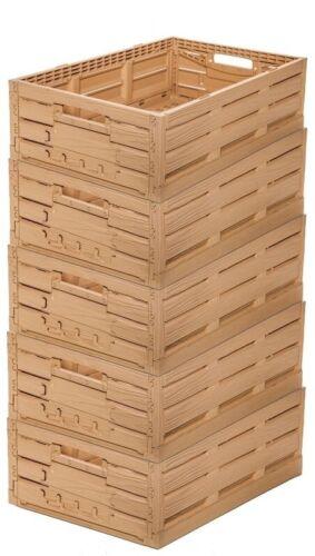 5 Apfelkiste Obstkiste Gemüsekiste Klappbox Holzdesign 600x400x165mm Gastlando