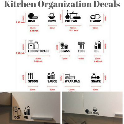 Kitchen Cabinet Labels Decal Storage Home Decor Wall Art Stickers Removable Diy Ebay