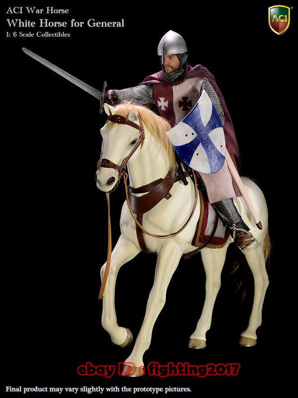 ACI leksaker H04 1  6 VitWar Horse modelllllerler for Gladiator och Franska Crusader General