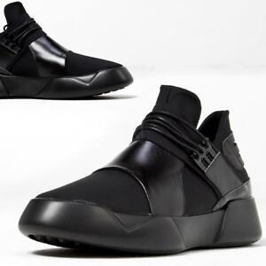 newstylish mens casual shoes futuristic black leather