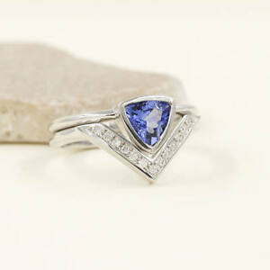 Trillion Tanzanite Engagement RingDiamond Chevron Wedding Band2pcs
