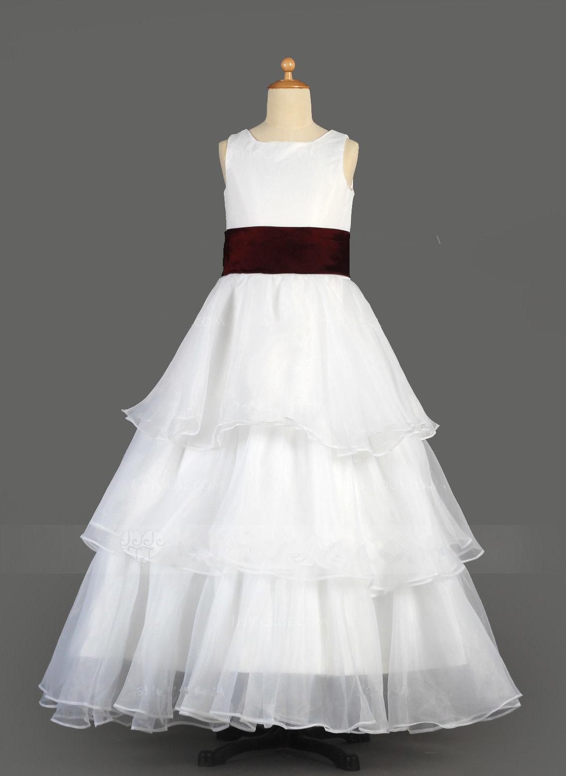 A-Line/Princess Floor-length Flower Girl Dress Organza/Satin Sleeveless