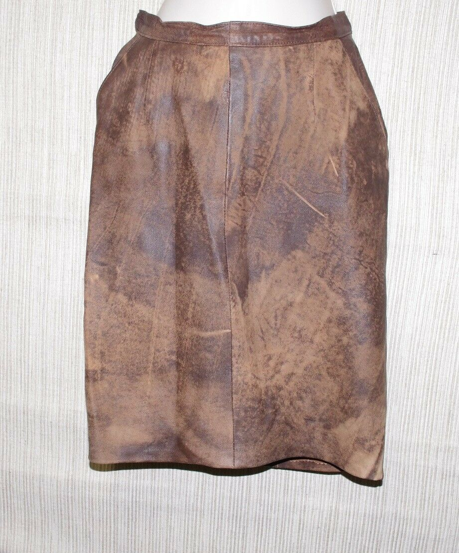 Vintage ECHTES LEDER Brown Dyed Multicolord Leather Pencil Skirt Size 38