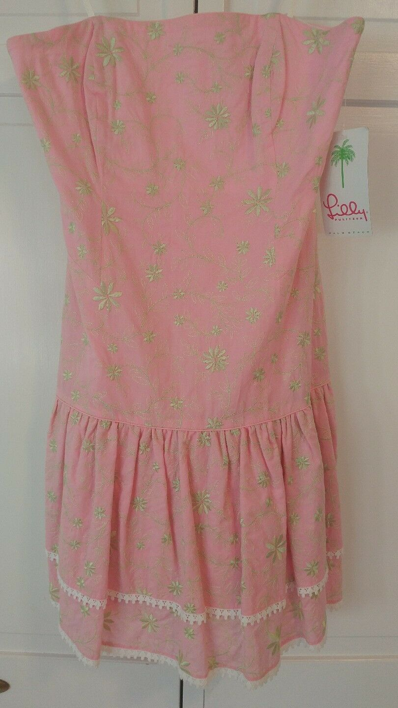 Lilly Pulitzer Ruby Strapless Pink Vinkavine Embroidered Dress NWT Size 4