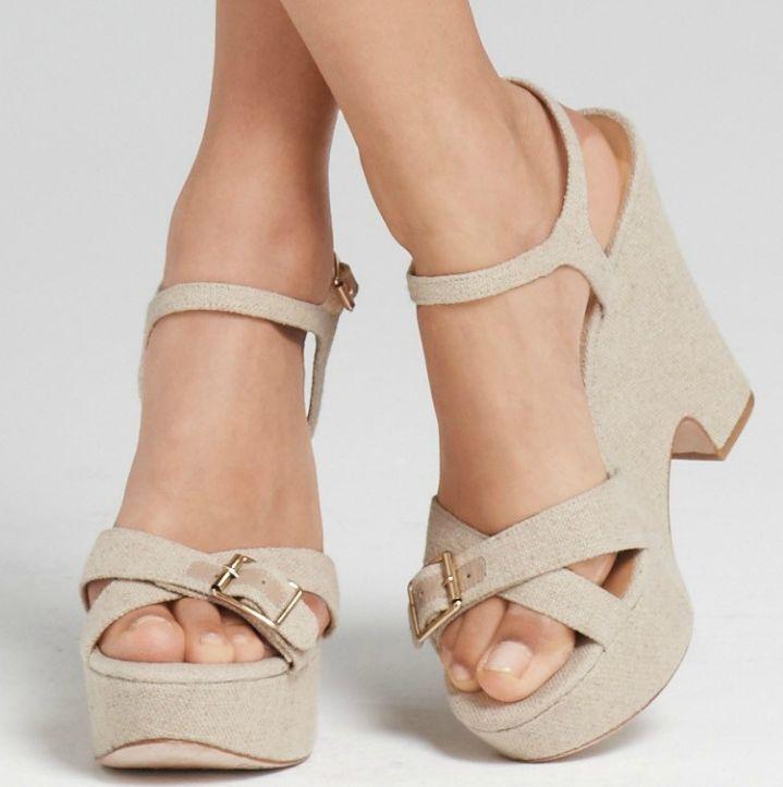 Ann Taylor Renee Canvas Platform Wedges Shoes Size 10 NIB