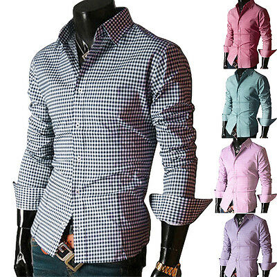 Fashion Mens Casual Button Down Slim Fitted Pink Formal Dress Shirts SZ S M L XL