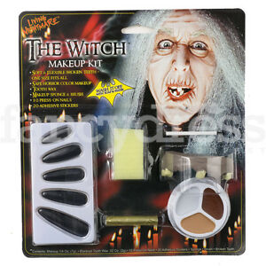 Witch Set Halloween Face Paints Old Lady Teeth Nails Fancy Dress