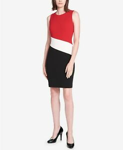 b1f16a1031 Tommy Hilfiger NWT Elegant RED/WHITE/BLACK Color Block Scuba Sheath ...