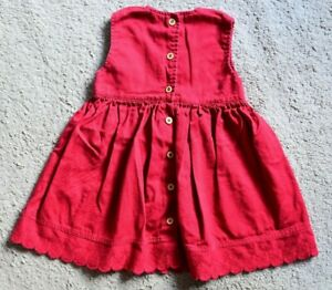 BHS Red Pinafore with Front Button Opening, Embroidery on Front & Back 12/18 mth