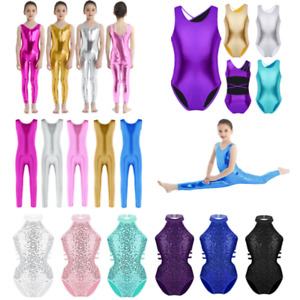 Kids-Girls-Shiny-Ballet-Leotards-Dress-Gym-Costume-Jumpsuits-Bodysuits-Dancewear