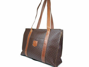 8e6dd97dd578 Image is loading Auth-CELINE-Macadam-PVC-Leather-Brown-Tote-Bag-