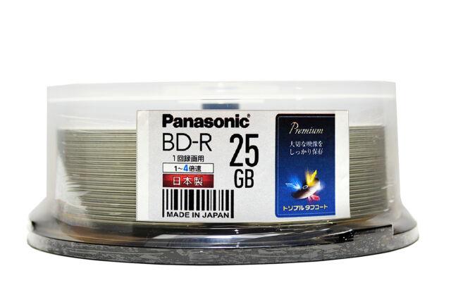 25 Panasonic Bluray Disc BD-R 25GB 4x blu ray Original MID Code + Pro Hard Coat
