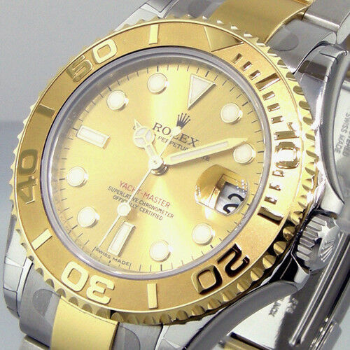 ROLEX YACHTMASTER 168623 STEEL GOLD 35 mm MIDSIZE TWO TONE CHAMPAGNE DIAL