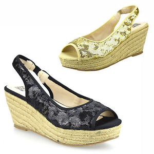 Ladies-Womens-Wedge-Heel-Espadrille-Chunky-Platform-Peep-Toe-Sandals-Shoes-Size
