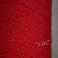 PURE MERINO WOOL YARN 2/30s RED 500g CONE LACEWEIGHT 1 PLY DEEP CRIMSON KNITTING