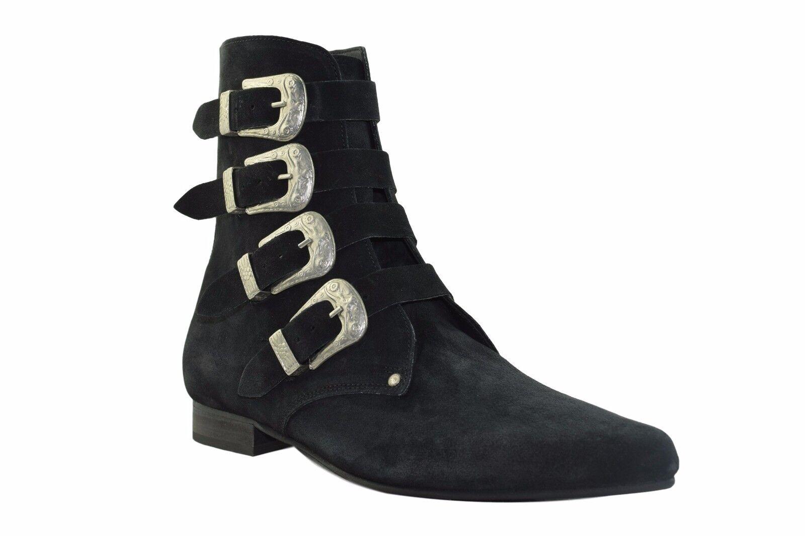 Steel Ground schwarz Suede Winklepicker Rock Ankle Stiefel 4 Straps Western Buckle