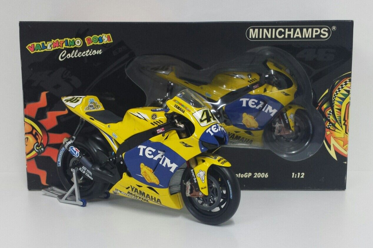 MINICHAMPS VALENTINO ROSSI 1 12 MODEL YAMAHA M1 2006 GP FRANCE LEMANS MOTOGP