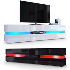 "White High Gloss Modern TV Stand Unit Media Entertainment Center ""Flow"""