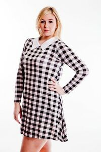 Details about Womens Ladies Plus Size Swing Dress in Gingham Check dress  16-32