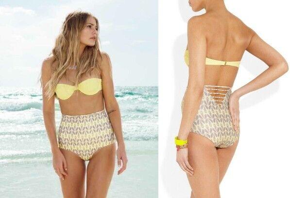 Tori Praver Swimwear Kenny Bikini Top + Printed high-waisted brief Yellow Butter