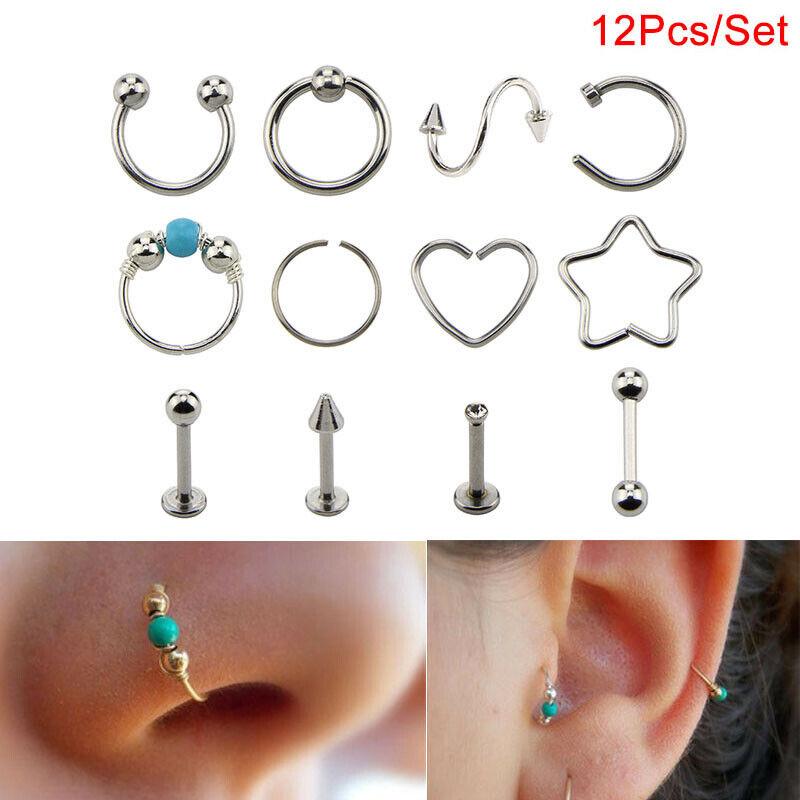 14Pcs//Set Rhinestone Nose Studs Hoop C Shape Ring Bone Bar Pin Piercing Jewel~ii