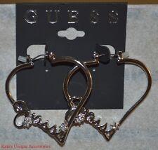 GUESS Silver Metal Finish & Clear Rhinestone Heart Shaped Hoops Earrings W/ LOGO