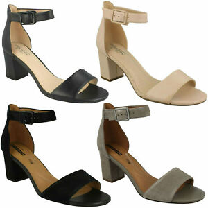 64047f6c540 DEVA MAE LADIES CLARKS LEATHER OPEN TOE ANKLE STRAP BUCKLE HEELED ...