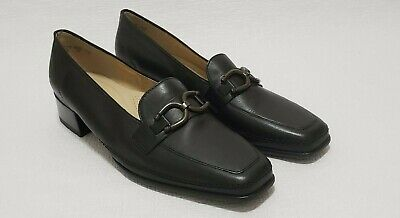 ara women's leather black loafers relax comfort casual