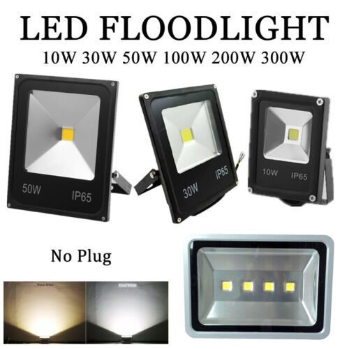 LED Flood Lights No Plug 220V Outdoor Lighting 10-300W Yard Security