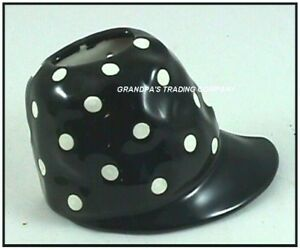 Black Hat Cap Wall Pocket Ceramic Vase White Polka Dots NEW Jockey Style