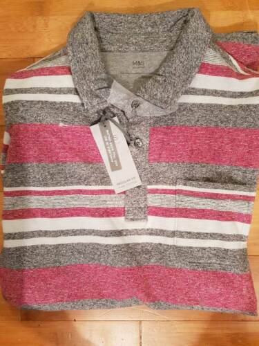LARGE 41-43 CHEST GREY MIX COTTON POLO SHIRT MARKS AND SPENCER