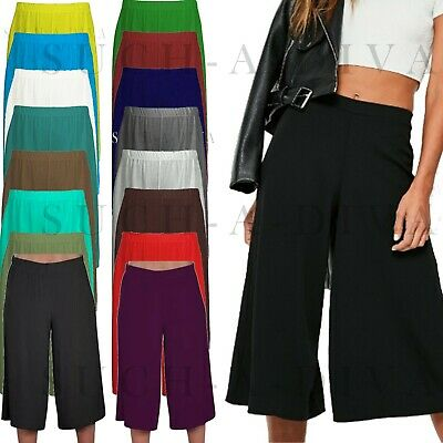 ZuverläSsig Ladies Womens Elasticated Stretch Wide Leg Culottes 3/4th Length Plus Size 8-26 Eine Hohe Bewunderung Gewinnen